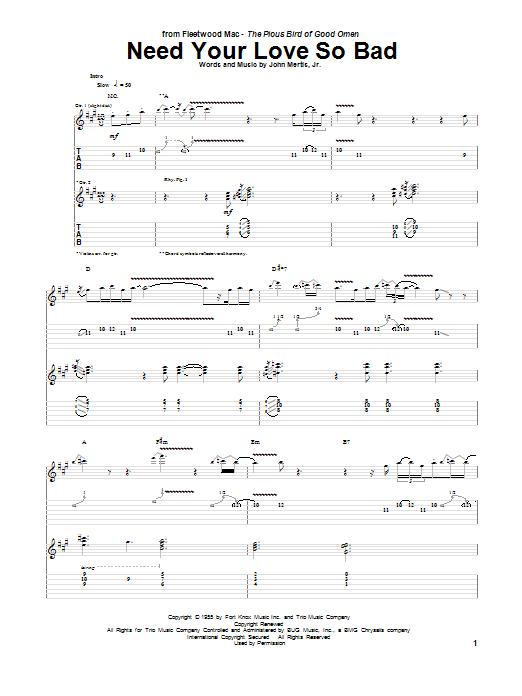 Tablature guitare Need Your Love So Bad de Fleetwood Mac - Tablature Guitare