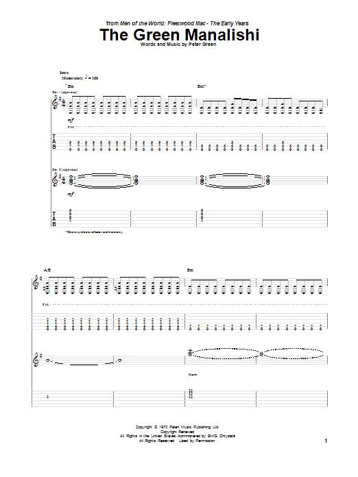 Tablature guitare The Green Manalishi de Peter Green - Tablature Guitare