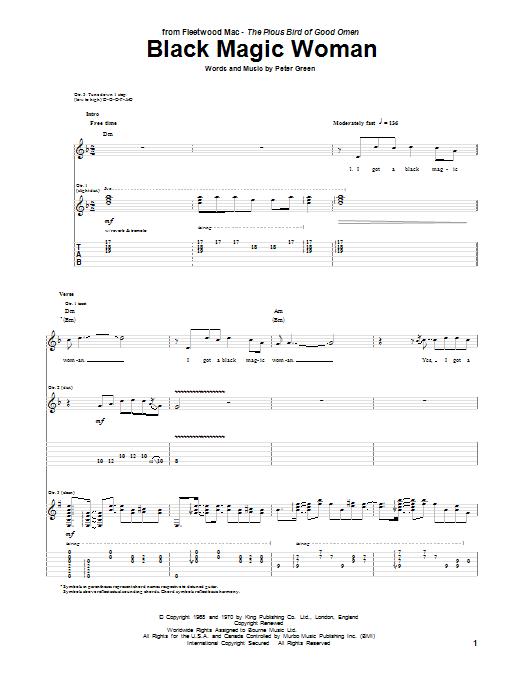 Tablature guitare Black Magic Woman de Peter Green - Tablature Guitare