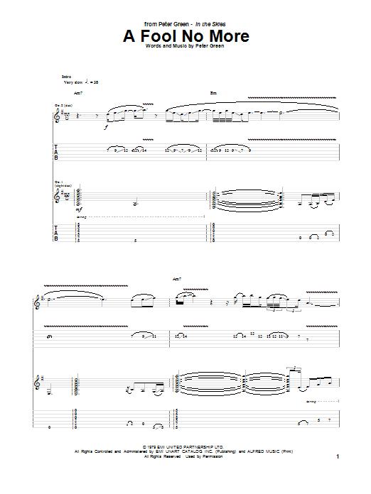 Tablature guitare A Fool No More de Peter Green - Tablature Guitare