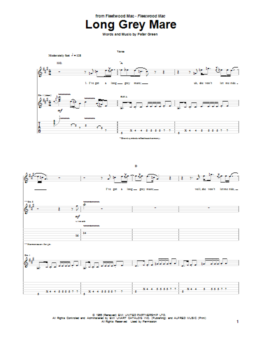 Tablature guitare Long Grey Mare de Peter Green - Tablature Guitare