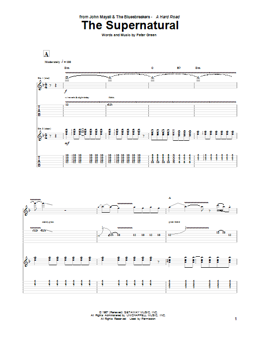 Tablature guitare The Supernatural de Peter Green - Tablature Guitare