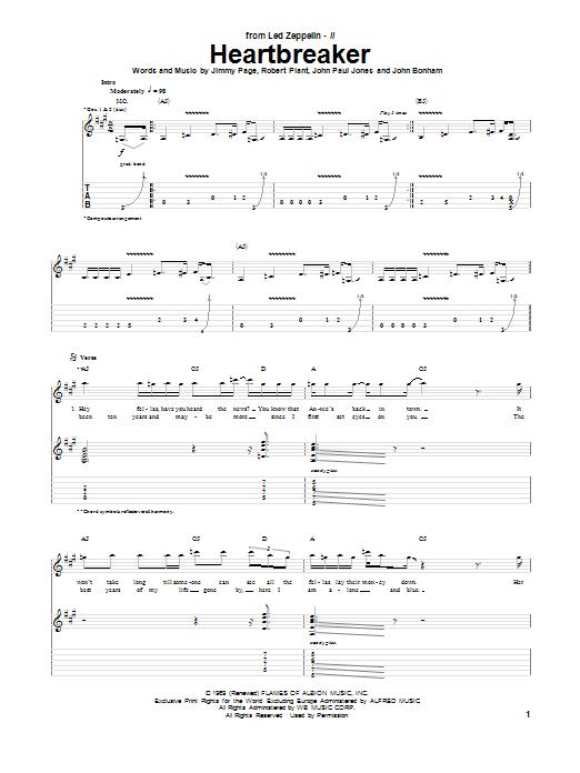 Tablature guitare Heartbreaker de Led Zeppelin - Tablature Guitare