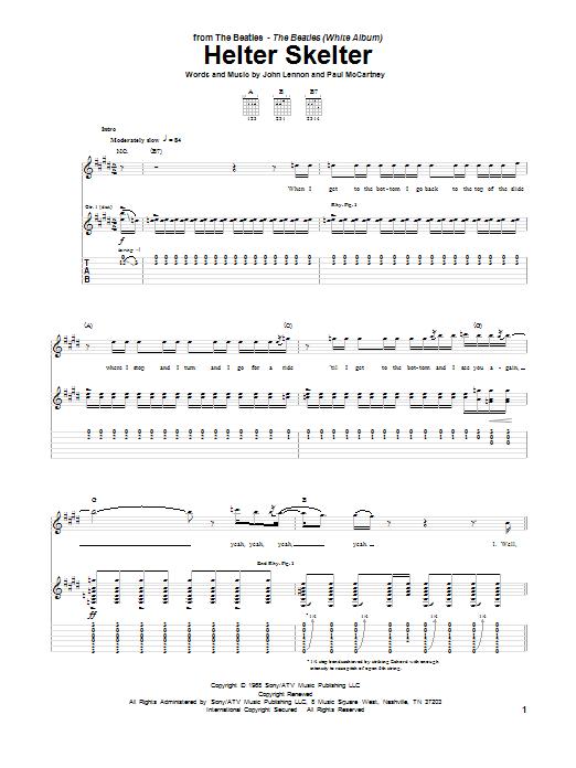 Tablature guitare Helter Skelter de The Beatles - Tablature Guitare