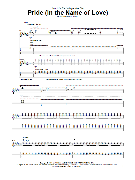 Tablature guitare Pride (In The Name Of Love) de U2 - Tablature Guitare