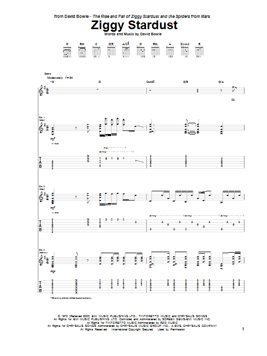 David Bowie: Ziggy Stardust - Guitar Tab : Sheetmusicdirect.com
