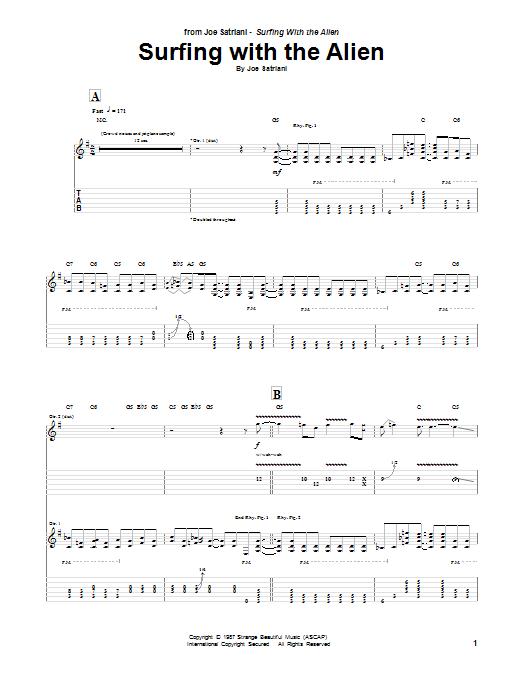 Tablature guitare Surfing With The Alien de Joe Satriani - Tablature Guitare