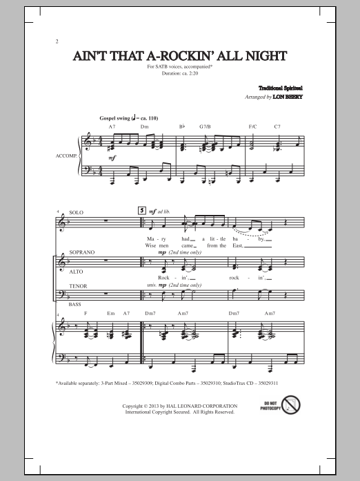 Partition chorale Ain't That A-Rockin' All Night de Lon Beery - SATB