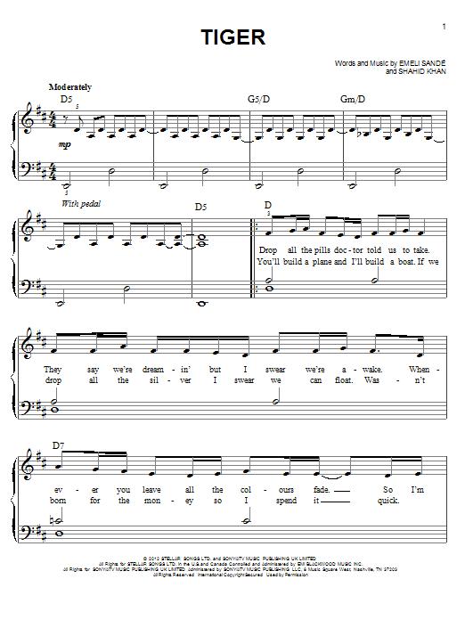 Partition piano Tiger de Emeli Sande - Piano Facile