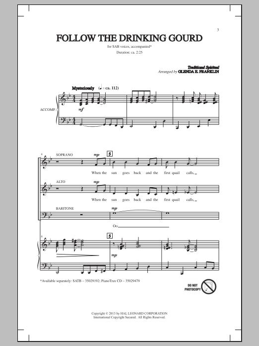 Partition chorale Follow The Drinkin' Gourd de  - SAB