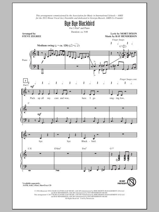 Partition chorale Bye Bye Blackbird de  - 2 voix