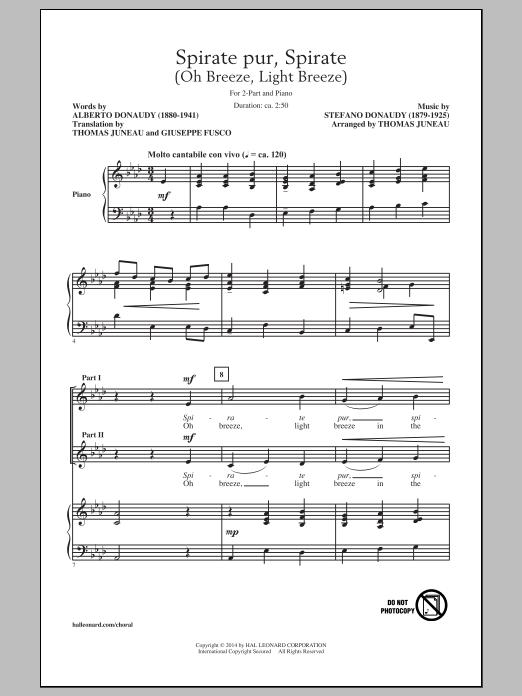Partition chorale Spirate Pur, Spirate (Oh Breeze, Light Breeze) de  - 2 voix