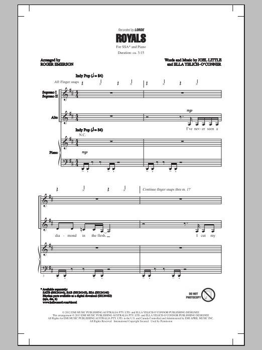 Partition chorale Royals de Roger Emerson - SSA