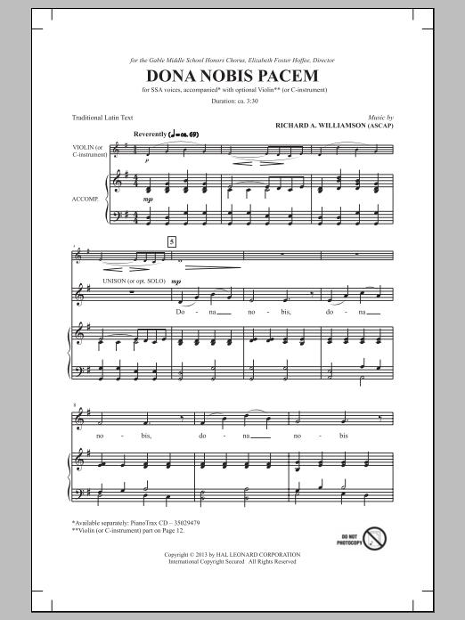 Partition chorale Dona Nobis Pacem de  - SSA