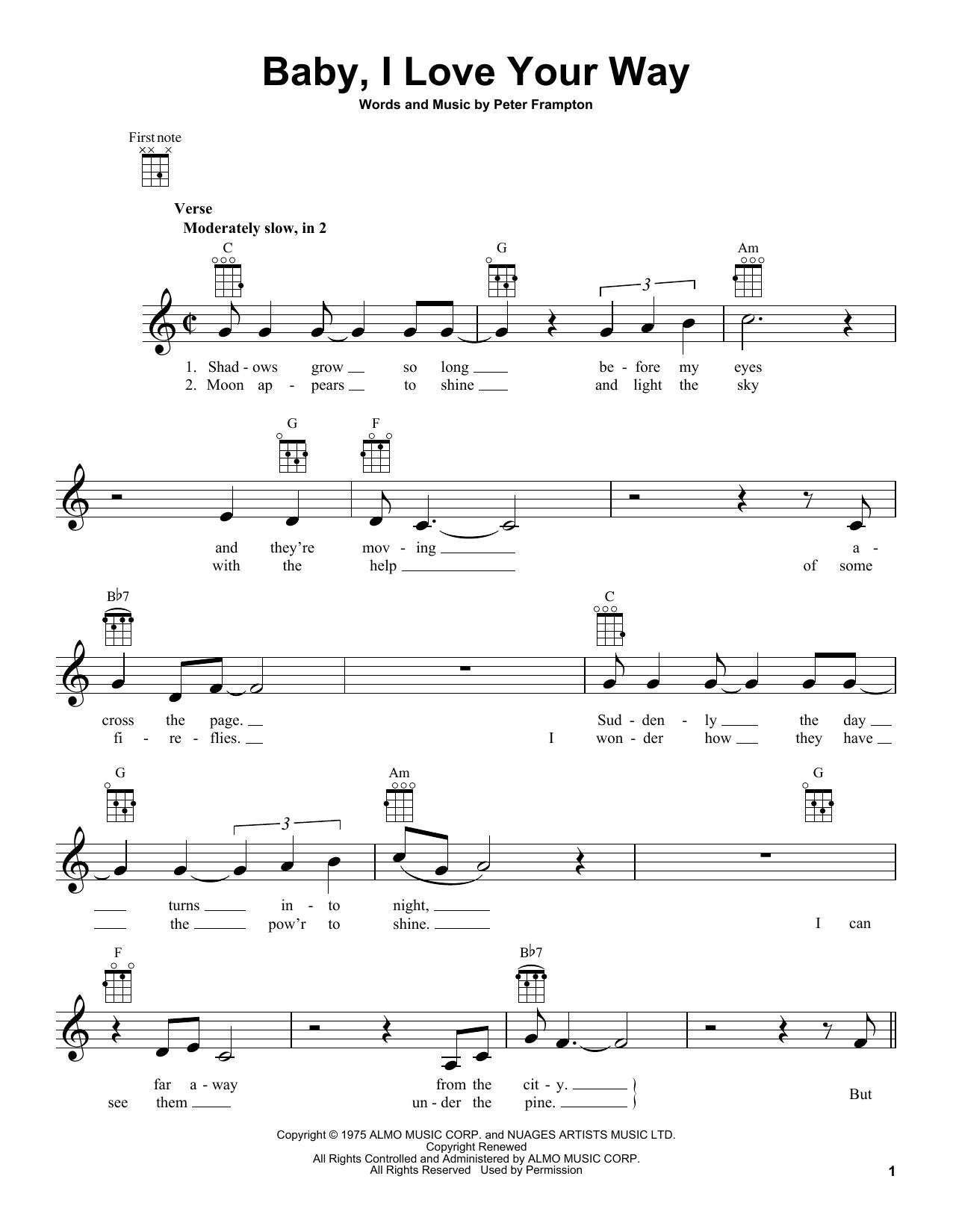 Tablature guitare Baby, I Love Your Way de Peter Frampton - Ukulele