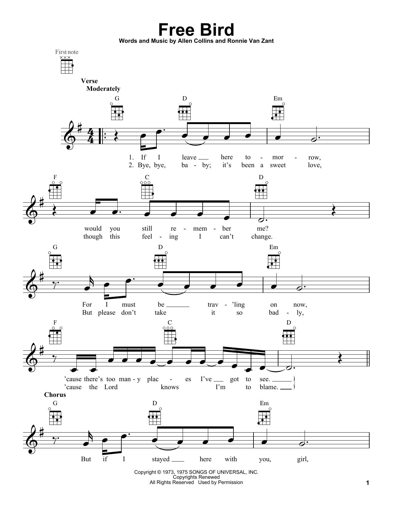 Tablature guitare Free Bird de Lynyrd Skynyrd - Ukulele