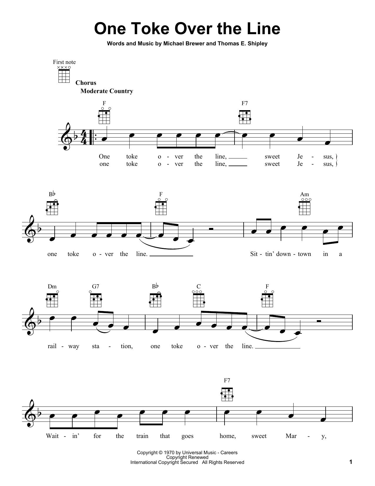Tablature guitare One Toke Over The Line de Brewer & Shipley - Ukulele