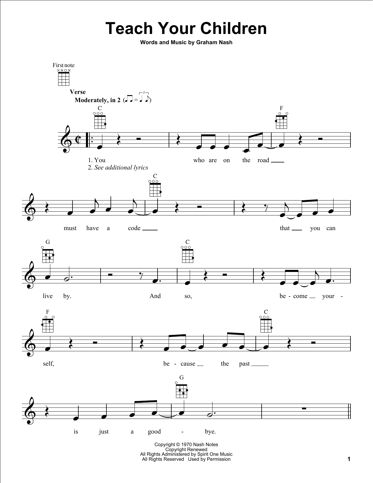 Tablature guitare Teach Your Children de Crosby, Stills, Nash & Young - Ukulele