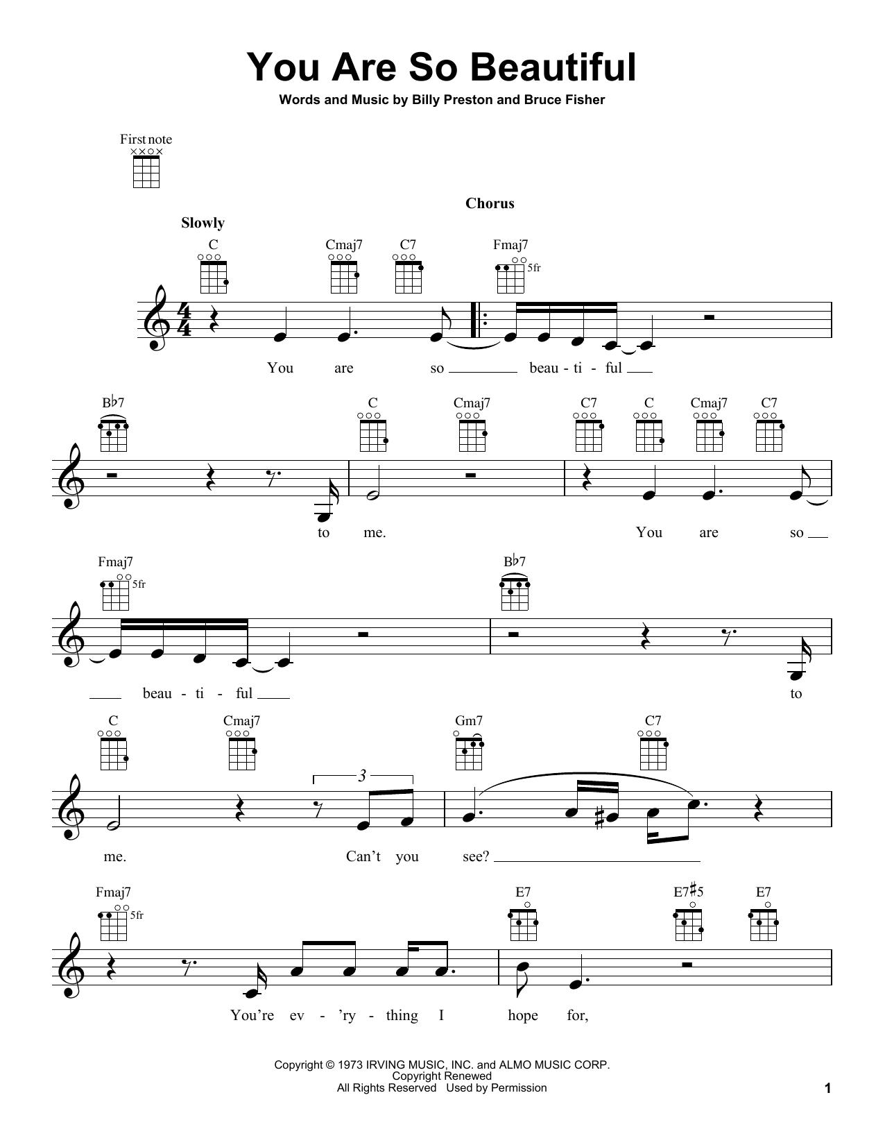 Tablature guitare You Are So Beautiful de Joe Cocker - Ukulele