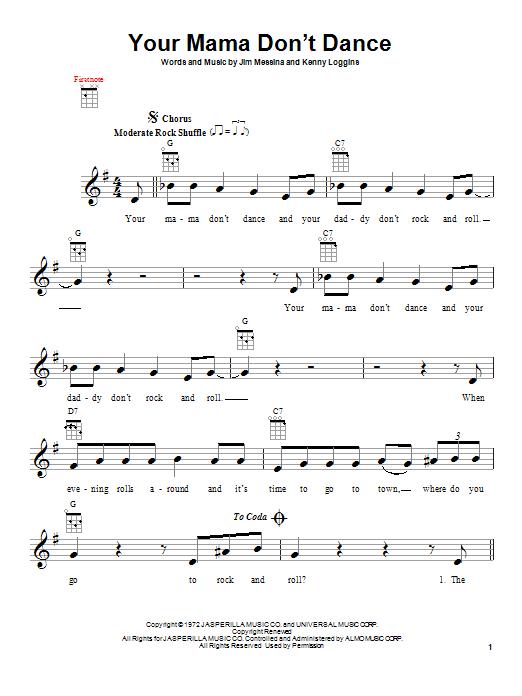 Tablature guitare Your Mama Don't Dance de Loggins and Messina - Ukulele