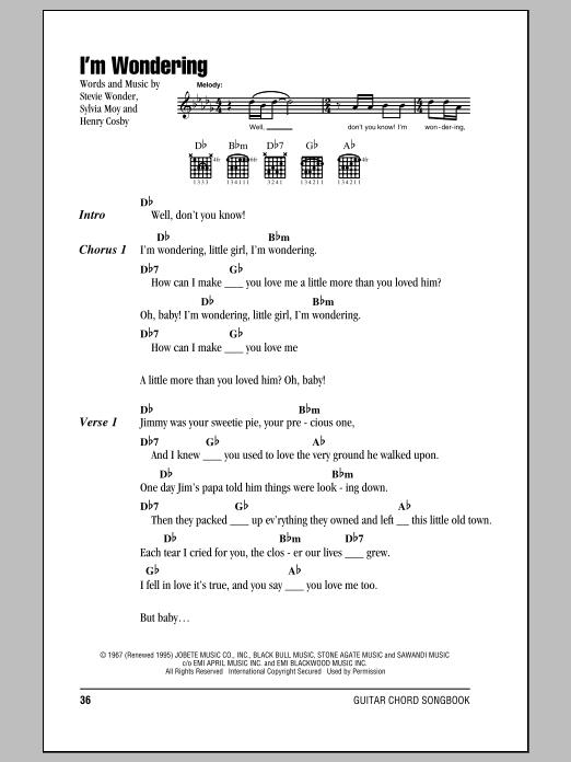 Stevie Wonder Guitar Chords I Wish