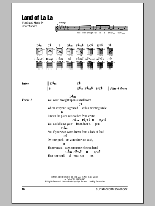 Stevie Wonder: Land Of La La - Lyrics & Chords