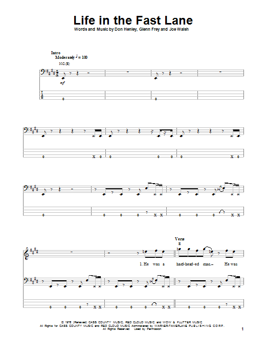 Tablature guitare Life In The Fast Lane de Eagles - Tablature Basse