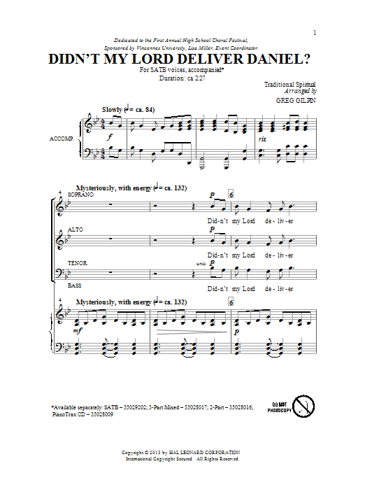 Partition chorale Didn't My Lord Deliver Daniel? de Greg Gilpin - SATB