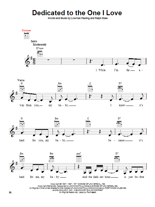 Tablature guitare Dedicated To The One I Love de The Mamas & The Papas - Ukulele