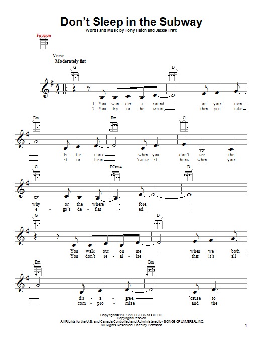 Tablature guitare Don't Sleep In The Subway de Petula Clark - Ukulele