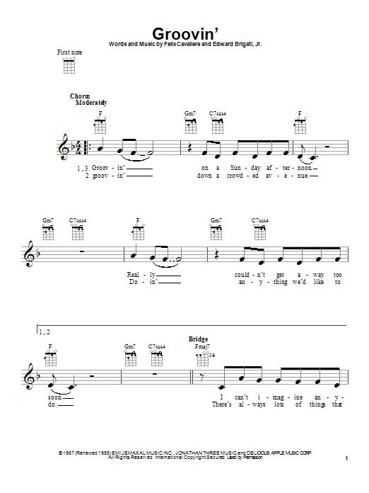 Tablature guitare Groovin' de Young Rascals - Ukulele