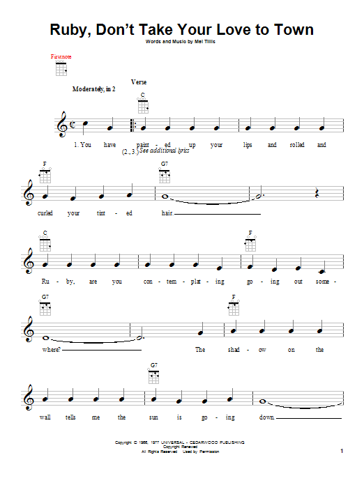 Tablature guitare Ruby, Don't Take Your Love To Town de Kenny Rogers - Ukulele