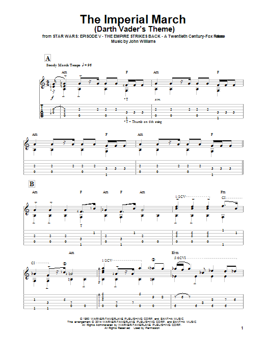 The Imperial March Darth Vader S Theme Guitar Tab By Ben