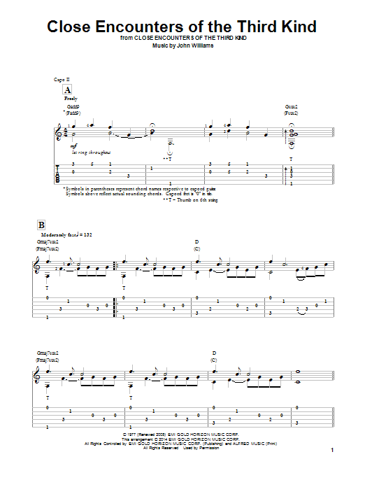 Tablature guitare Theme From Close Encounters Of The Third Kind de Ben Woolman - Tablature Guitare