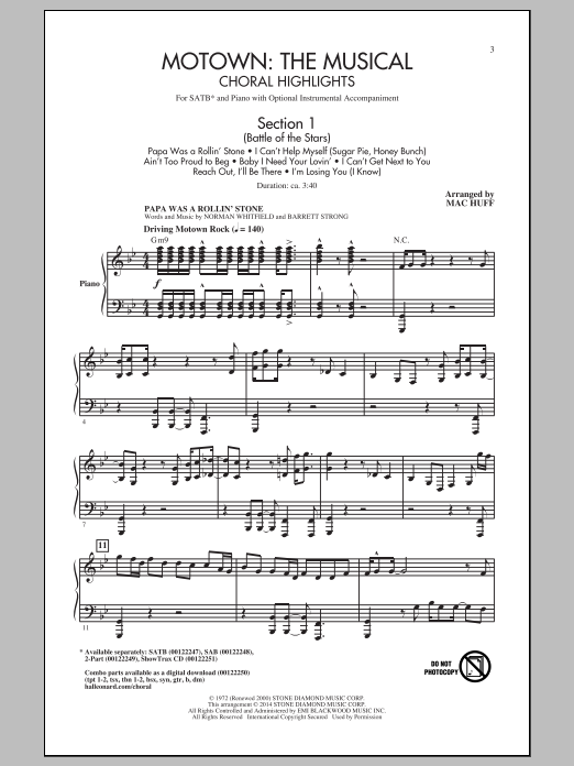 Partition chorale Motown The Musical (Choral Highlights) de Mac Huff - SATB