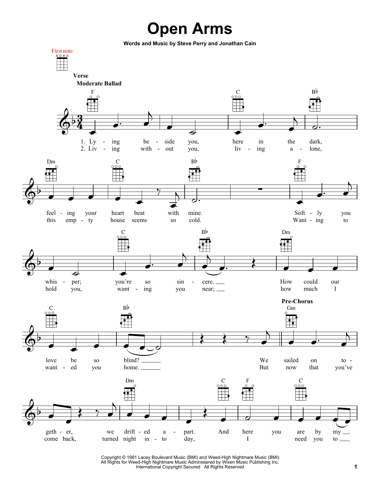 Tablature guitare Open Arms de Journey - Ukulele