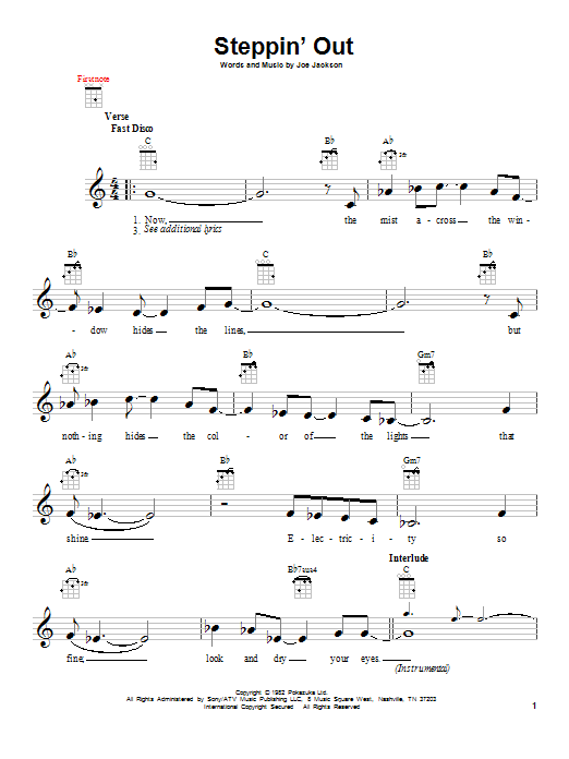 Tablature guitare Steppin' Out de Joe Jackson - Ukulele