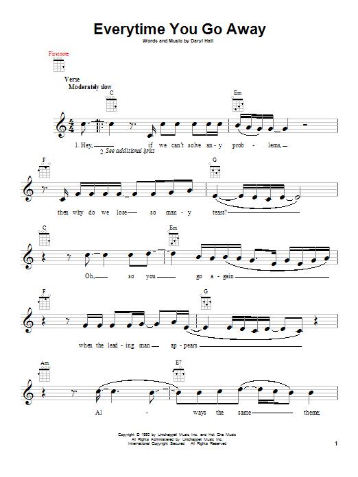 Tablature guitare Everytime You Go Away de Paul Young - Ukulele