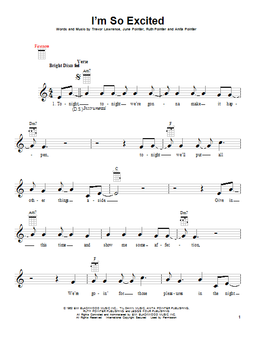 Tablature guitare I'm So Excited de The Pointer Sisters - Ukulele