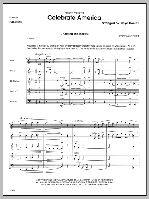 Celebrate America sheet music for wind quintet (full score) by Conley