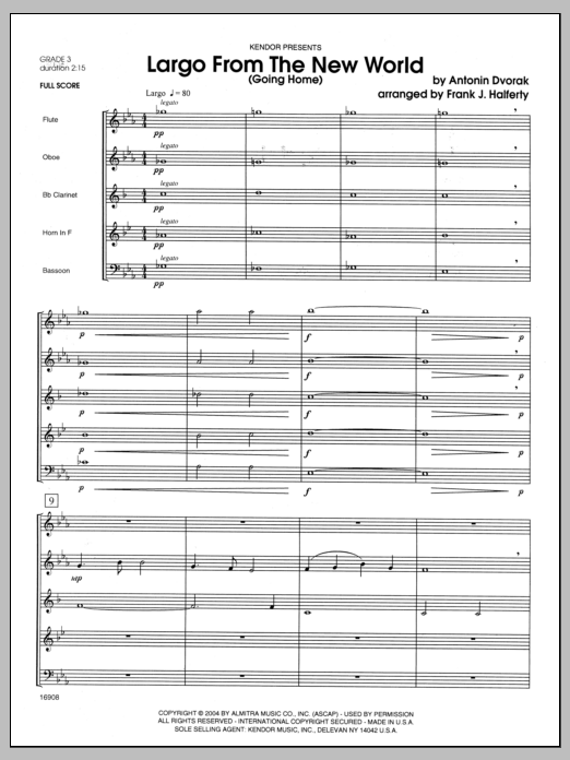 Largo From The New World (Going Home) (COMPLETE) sheet music for wind quintet by Halferty
