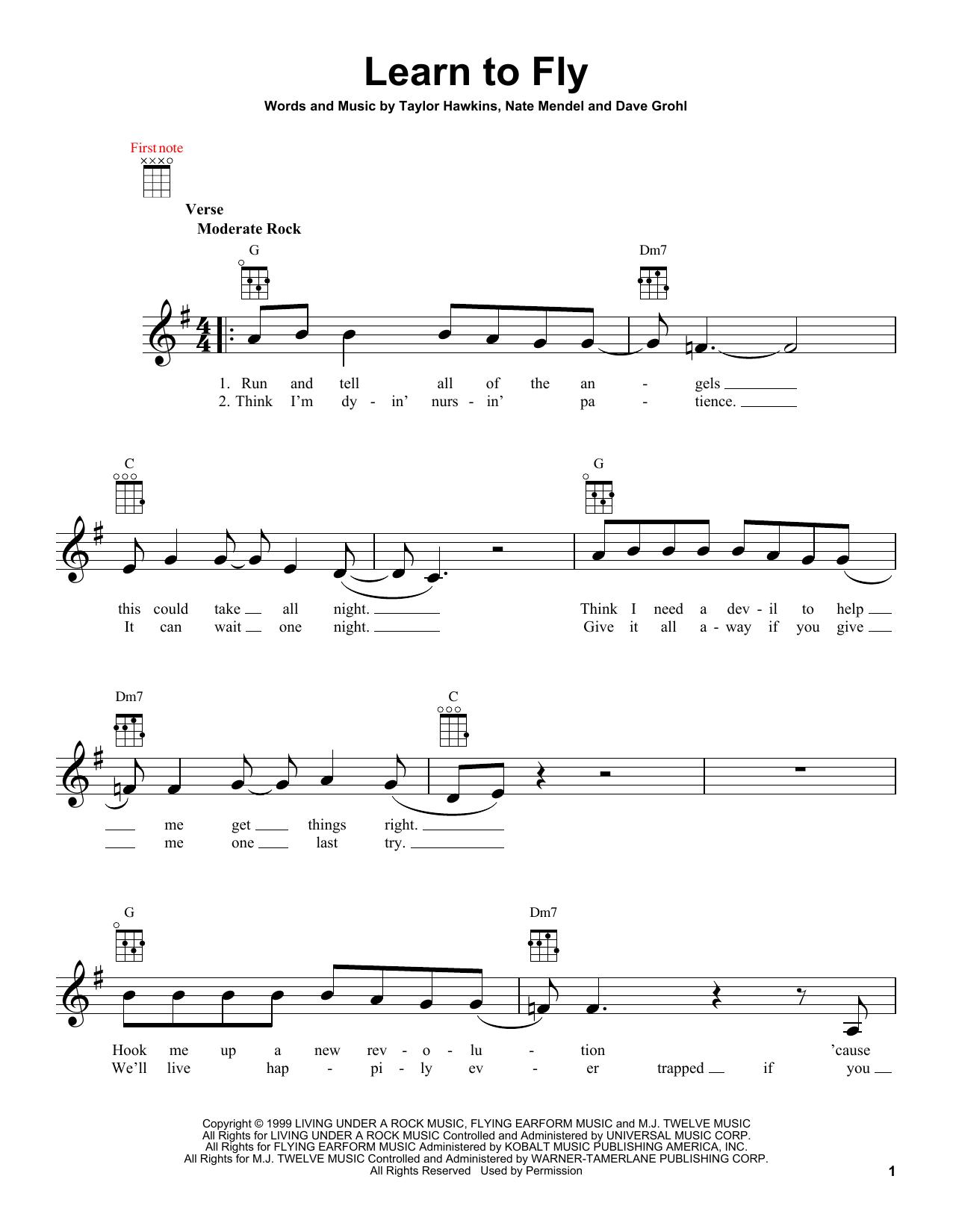 Tablature guitare Learn To Fly de Foo Fighters - Ukulele