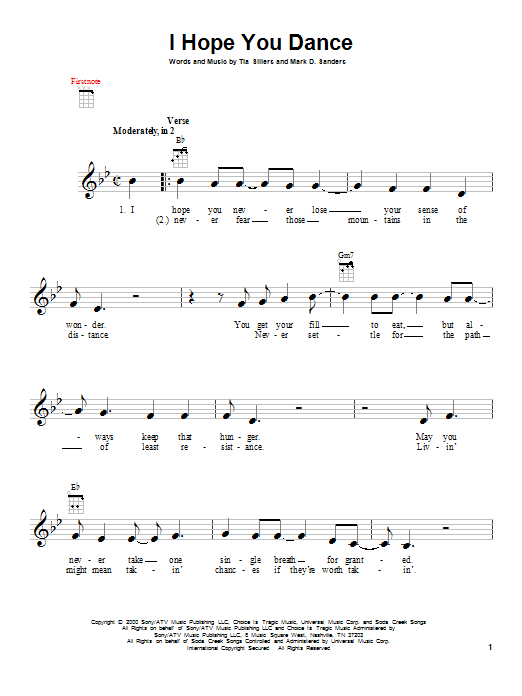 Tablature guitare I Hope You Dance de Lee Ann Womack with Sons of the Desert - Ukulele