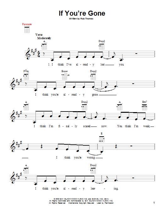 Tablature guitare If You're Gone de Matchbox Twenty - Ukulele
