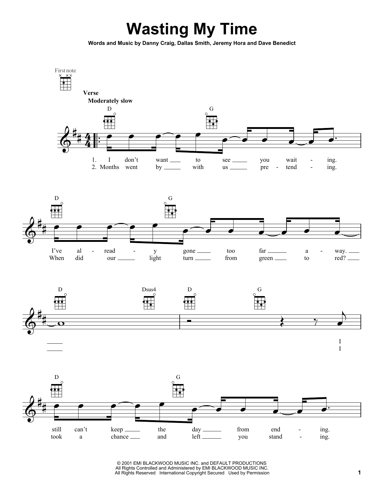 Tablature guitare Wasting My Time de Default - Ukulele