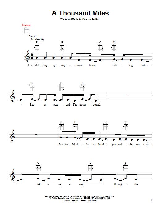 Tablature guitare A Thousand Miles de Vanessa Carlton - Ukulele