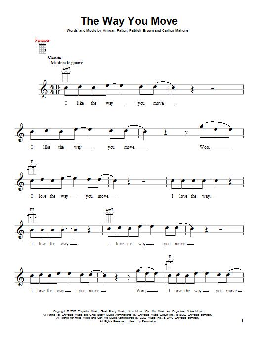 Tablature guitare The Way You Move de Outkast featuring Sleepy Brown - Ukulele