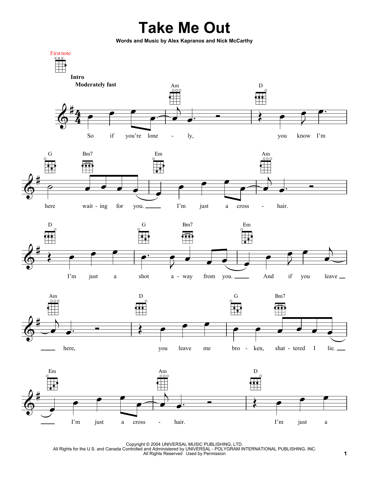 Tablature guitare Take Me Out de Franz Ferdinand - Ukulele