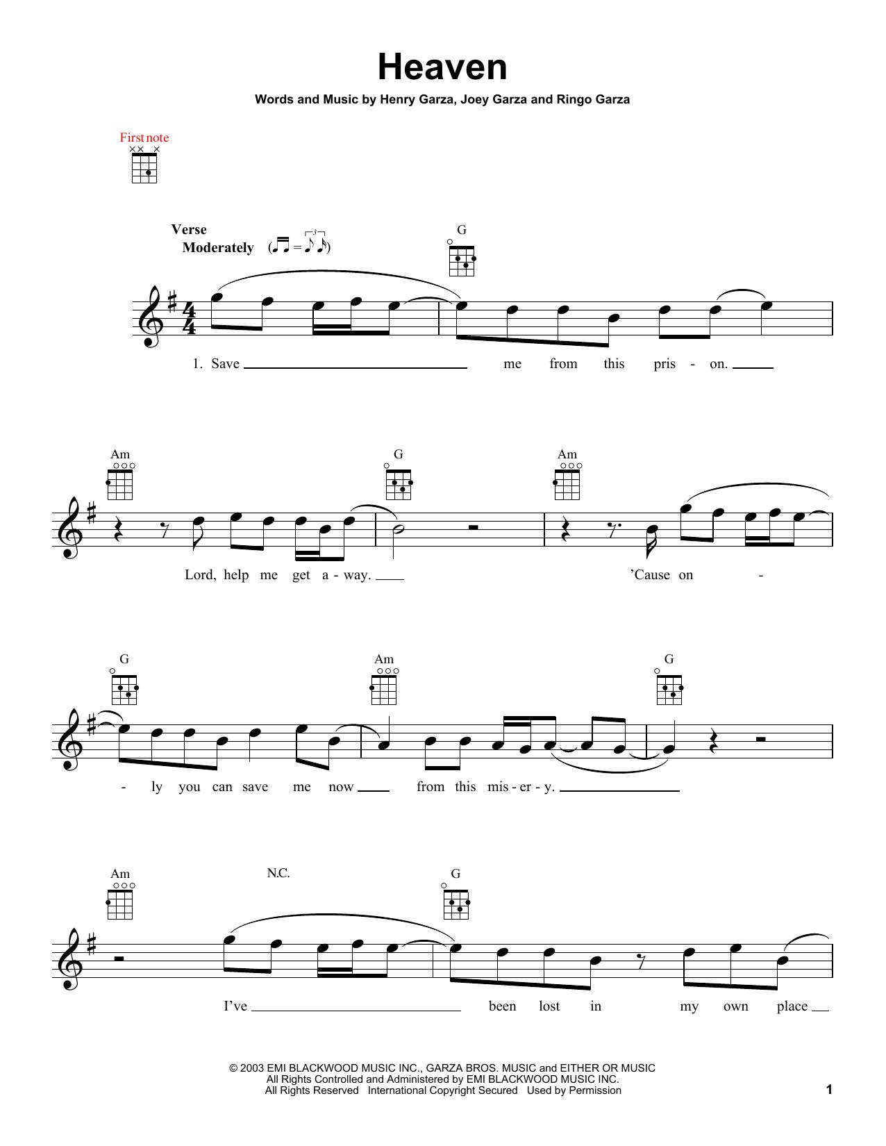Tablature guitare Heaven de Los Lonely Boys - Ukulele