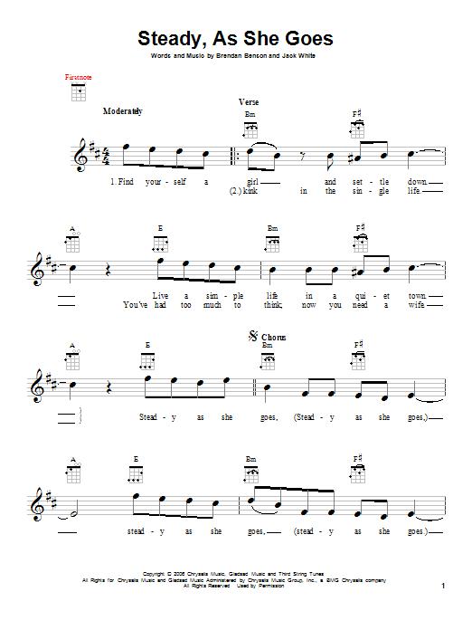 Tablature guitare Steady, As She Goes de The Raconteurs - Ukulele